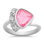 Freeform Pink Sapphire and Half Moon Diamond Ring