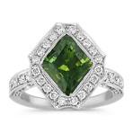 Green Kite Shaped Sapphire and Round Diamond Ring