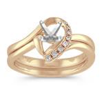 Half Heart Swirl Diamond Wedding Set with Pavé Setting in Yellow Gold