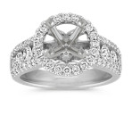 Halo Center Row Ascending Diamond Engagement Ring