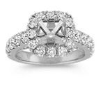 Halo Engagement Ring with Round Diamond Accents