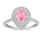 Halo Pear-Shaped Pink Sapphire and Diamond Engagement Ring