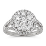 Halo Round Diamond Cluster Ring