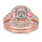 Halo Round Pink Sapphire and Diamond Wedding Set