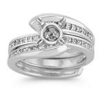Halo Swirl Princess Cut Diamond Wedding Set