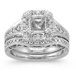 Halo Vintage Diamond Wedding Set with Pavé Setting