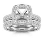 Halo Vintage Diamond Wedding Set