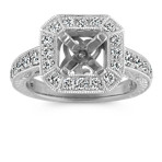 Halo Vintage Engraved Engagement Ring with Pavé-Setting in Platinum