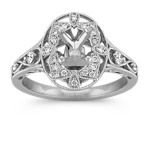 Halo Vintage Round Diamond Engagement Ring