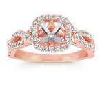 Infinity Halo Diamond Engagement Ring in 14k Rose Gold