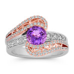 Lavender Sapphire and Diamond Ring in Rose and White Gold