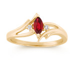 Marquise Ruby and Round Diamond Ring