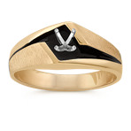 Men's Engagement Ring in 14k Yellow Gold with Black Rhodium (8mm)