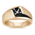 Men's Solitaire Engagement Ring with Black Finish in 14k Yellow Gold (10mm)