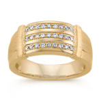 Men's Triple Row Diamond Ring in 14k Yellow Gold (10mm)