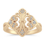 Mirrored Fleur De Lis Diamond Ring in 14k Yellow Gold
