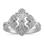 Mirrored Fleur De Lis Diamond Ring