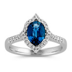 Oval Blue Green Sapphire and Round Diamond Halo Ring
