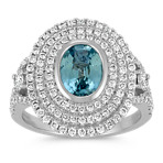 Oval Blue Green Sapphire and Round Diamond Ring