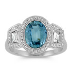 Oval Blue Green Sapphire, Trapezoid and Round Diamond Ring