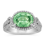 Oval Green Sapphire and Diamond Ring with Pavé-Setting