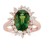 Oval Green Sapphire and Round Diamond Ring in 14k Rose Gold