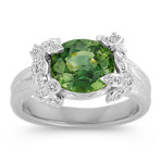 Oval Green Sapphire and Round Diamond Ring with Floral Head Setting