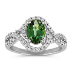 Oval Green Sapphire and Round Diamond Swirl Ring