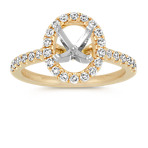 Oval Halo Diamond Engagement Ring in 14k Yellow Gold