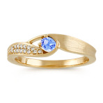 Oval Ice Blue Sapphire and Diamond Ring with Satin Finish