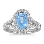 Oval Ice Blue Sapphire and Round Diamond Ring with Pavé-Setting
