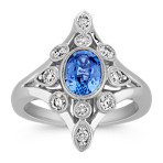 Oval Kentucky Blue Sapphire and Diamond Ring with Bezel-Setting