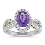 Oval Lavender Sapphire and Diamond Ring in Two-Tone Gold