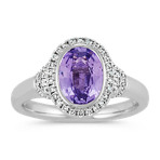 Oval Lavender Sapphire and Round Diamond Ring
