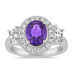 Oval Lavender Sapphire, Half-Moon Diamond and Round Diamond Ring