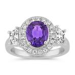 Oval Lavender Sapphire, Half-Moon Diamond and Round Diamond Ring