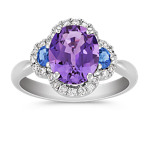 Oval Lavender Sapphire, Half Moon Kentucky Blue Sapphire, and Round Diamond Ring