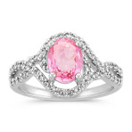Oval Pink Sapphire and Diamond Swirl Fashion Ring