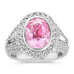 Oval Pink Sapphire, Baguette and Round Diamond Ring