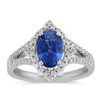 Oval Traditional Sapphire and Round Diamond Split Shank Ring