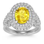 Oval Yellow Sapphire and Diamond Double Halo Ring