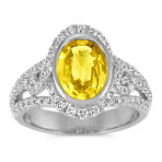 Oval Yellow Sapphire and Round Diamond Halo Ring with Pav&eacute Setting