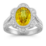 Oval Yellow Sapphire and Round Diamond Split Shank Flower Halo Ring