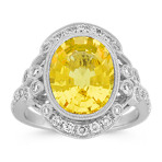 Oval Yellow Sapphire and Round Diamond Vintage Ring with Bezel-Setting