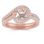 Pavé Set Diamond Swirl Wedding Set in 14k Rose Gold