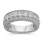 Pavé-Set Round Diamond Wedding Band