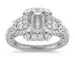 Pavé-Set Trapezoid and Round Diamond Vintage Halo Engagement Ring