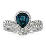 Pear-Shaped Blue Green Sapphire and Round Diamond Ring