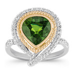 Pear-Shaped Green Sapphire and Diamond Ring in Two-Tone Gold