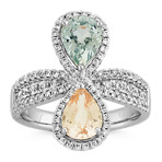 Pear-Shaped Green Sapphire and Peach Sapphire Ring with Diamond Accent